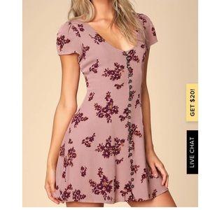 Lulus Mauve Pink Floral Button Front Mini Dress